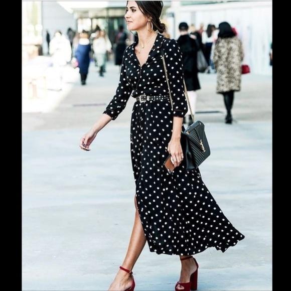 4223e322 ZARA long sleeve polka dot maxi dress NWT